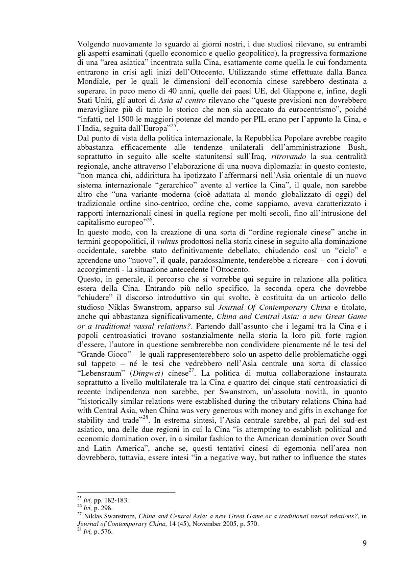 Anteprima della tesi: Cina e Asia centrale: un ''Nuovo Grande Gioco'' o un antico Dingwei?, Pagina 7