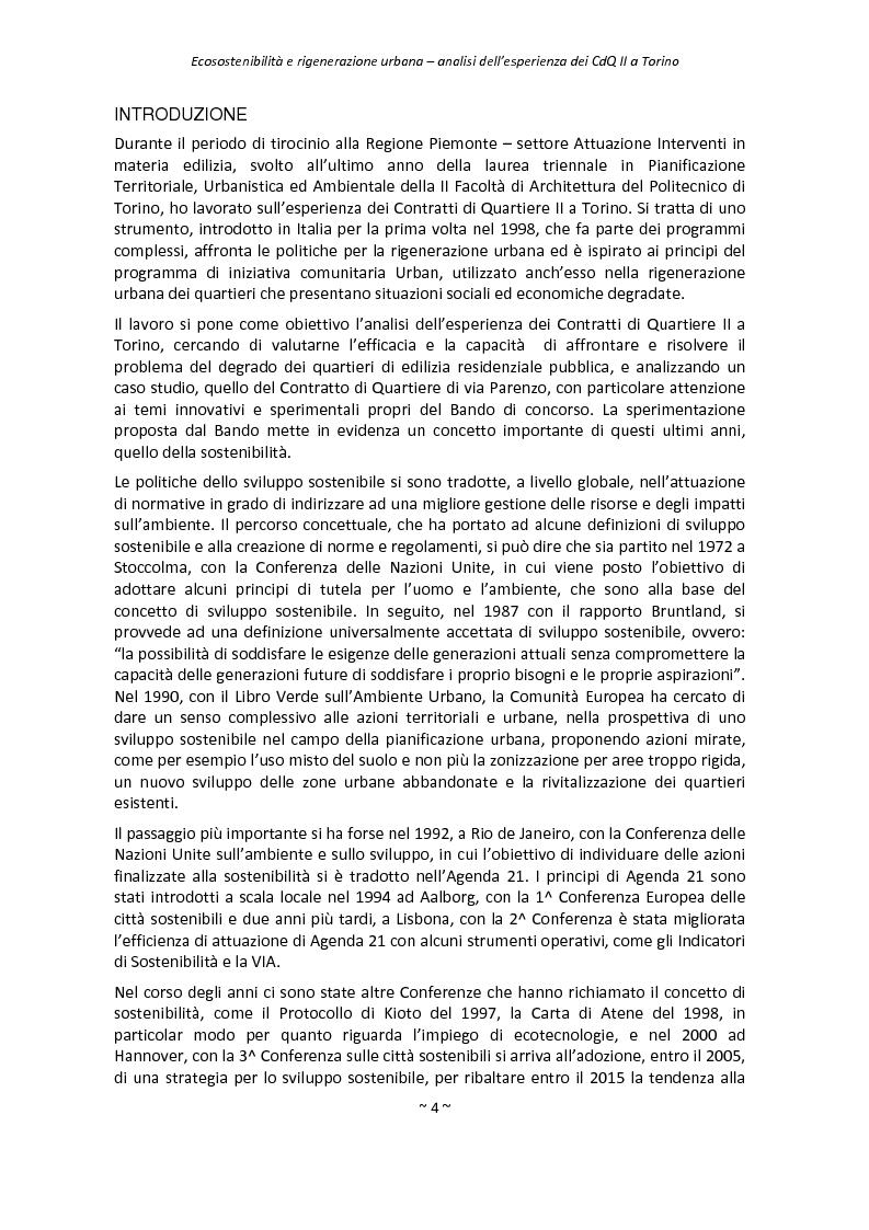 Anteprima della tesi: Ecosostenibilità e rigenerazione urbana, analisi dell'esperienza dei contratti di quartiere II a Torino, Pagina 1
