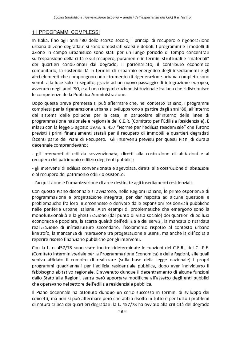 Anteprima della tesi: Ecosostenibilità e rigenerazione urbana, analisi dell'esperienza dei contratti di quartiere II a Torino, Pagina 3