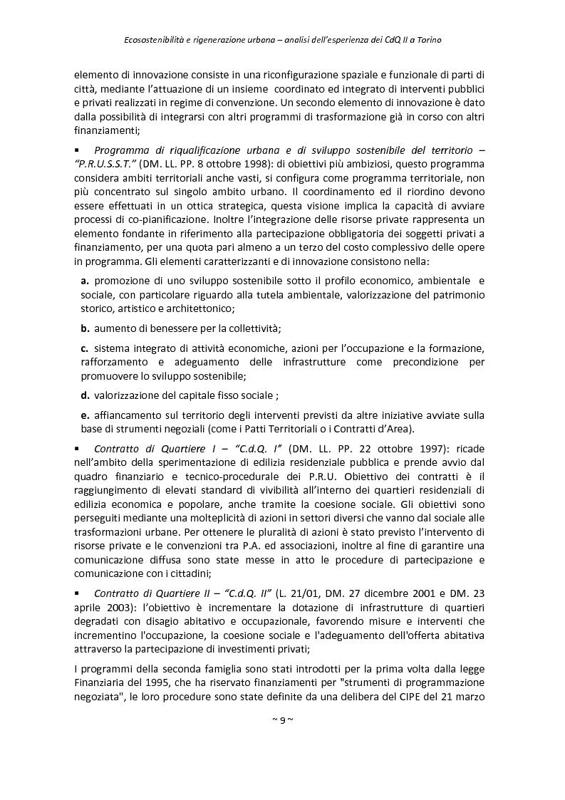 Anteprima della tesi: Ecosostenibilità e rigenerazione urbana, analisi dell'esperienza dei contratti di quartiere II a Torino, Pagina 6