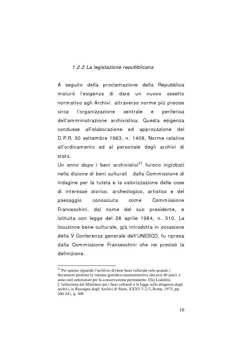 Anteprima della tesi: Strategie di gestione e valorizzazione delle risorse archivistiche locali, Pagina 10
