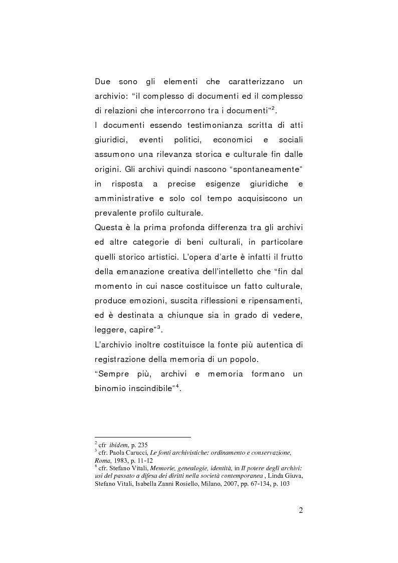 Anteprima della tesi: Strategie di gestione e valorizzazione delle risorse archivistiche locali, Pagina 2