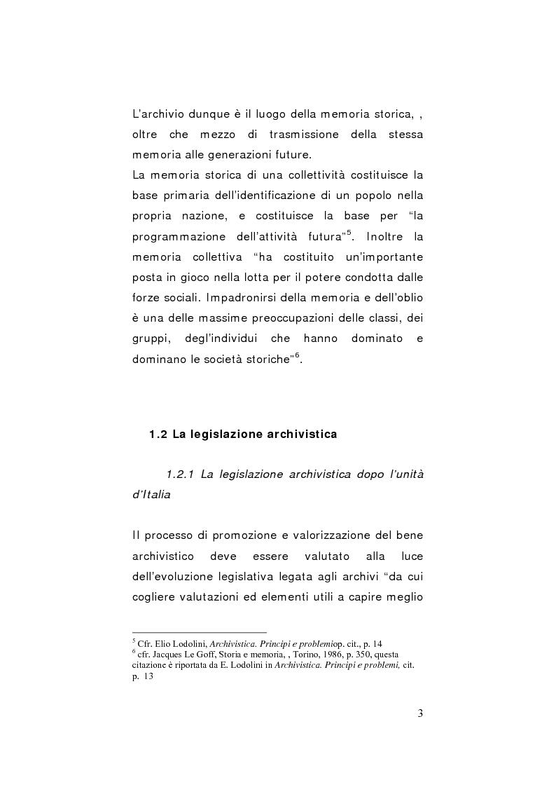 Anteprima della tesi: Strategie di gestione e valorizzazione delle risorse archivistiche locali, Pagina 3