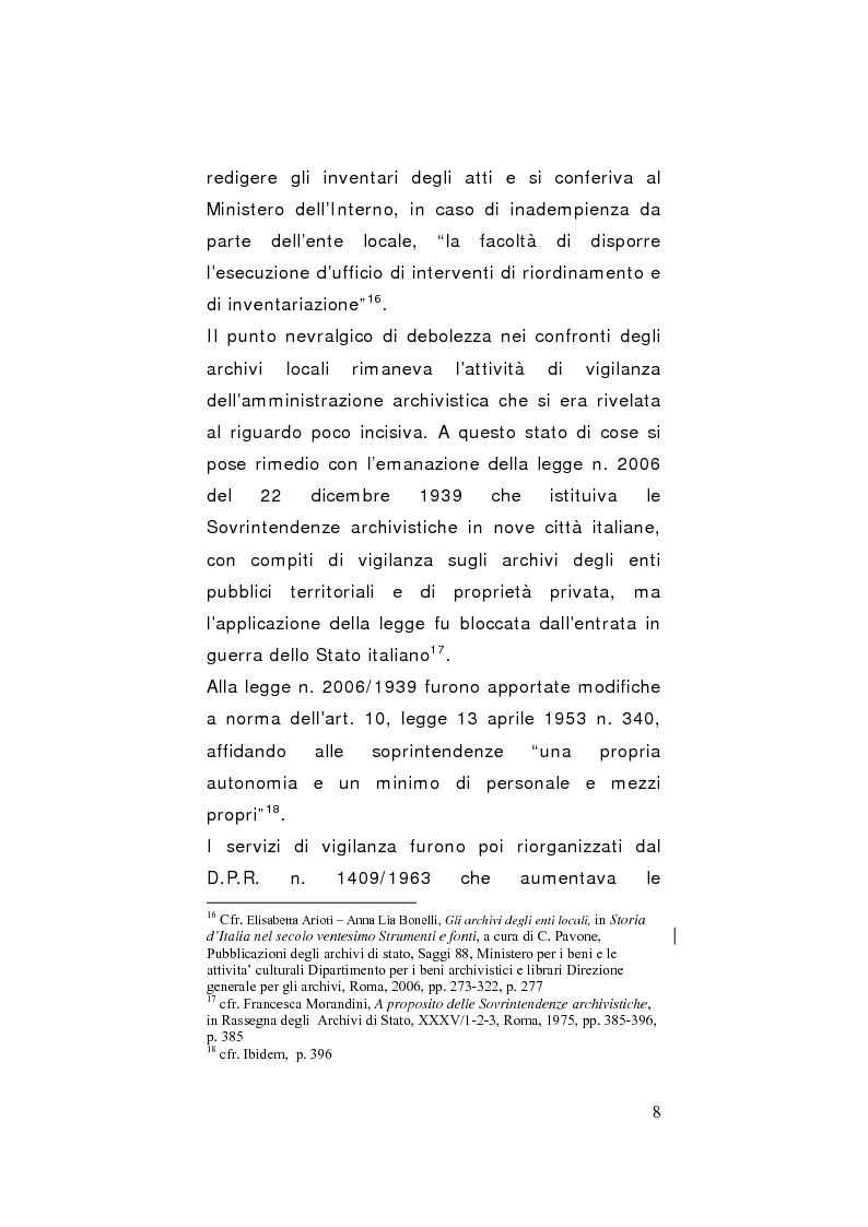 Anteprima della tesi: Strategie di gestione e valorizzazione delle risorse archivistiche locali, Pagina 8