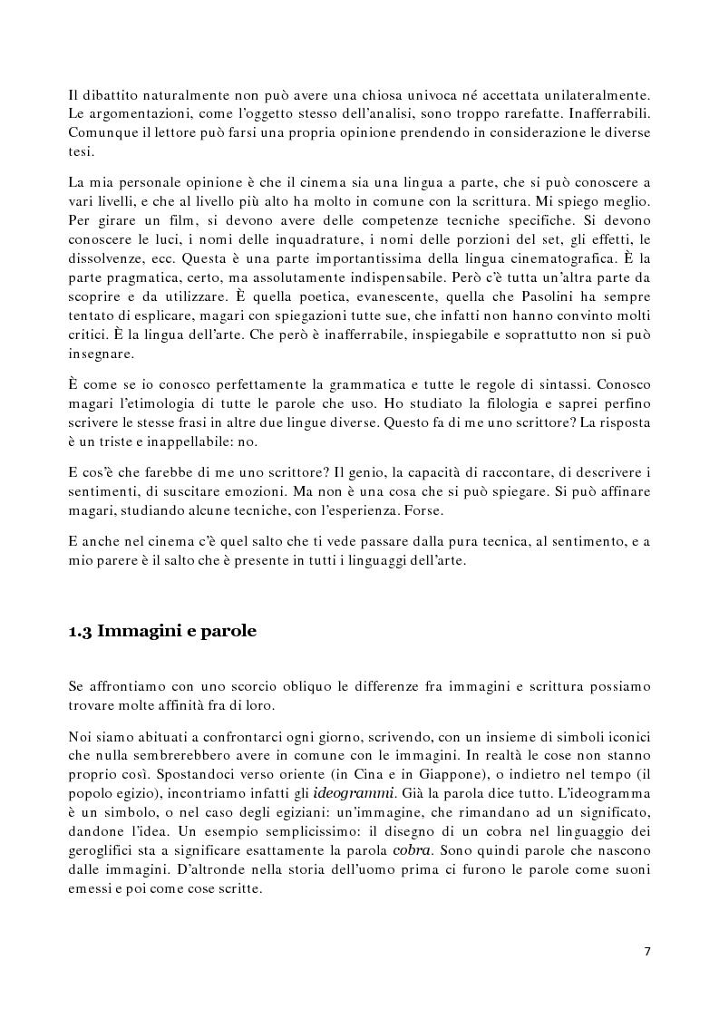 Anteprima della tesi: Il silenzio sulla pagina. Analisi delle affinità e degli interscambi fra due mezzi espressivi: il cinema e la scrittura, Pagina 5