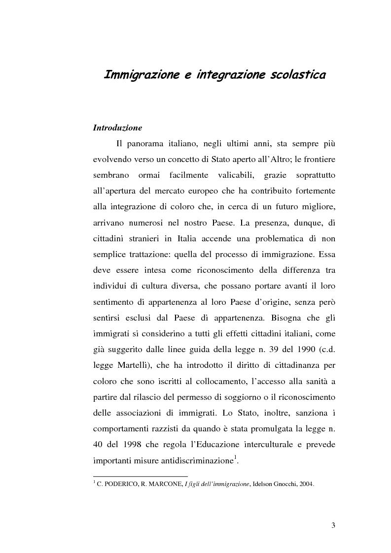 Anteprima della tesi: Immigrazione e integrazione scolastica, Pagina 1