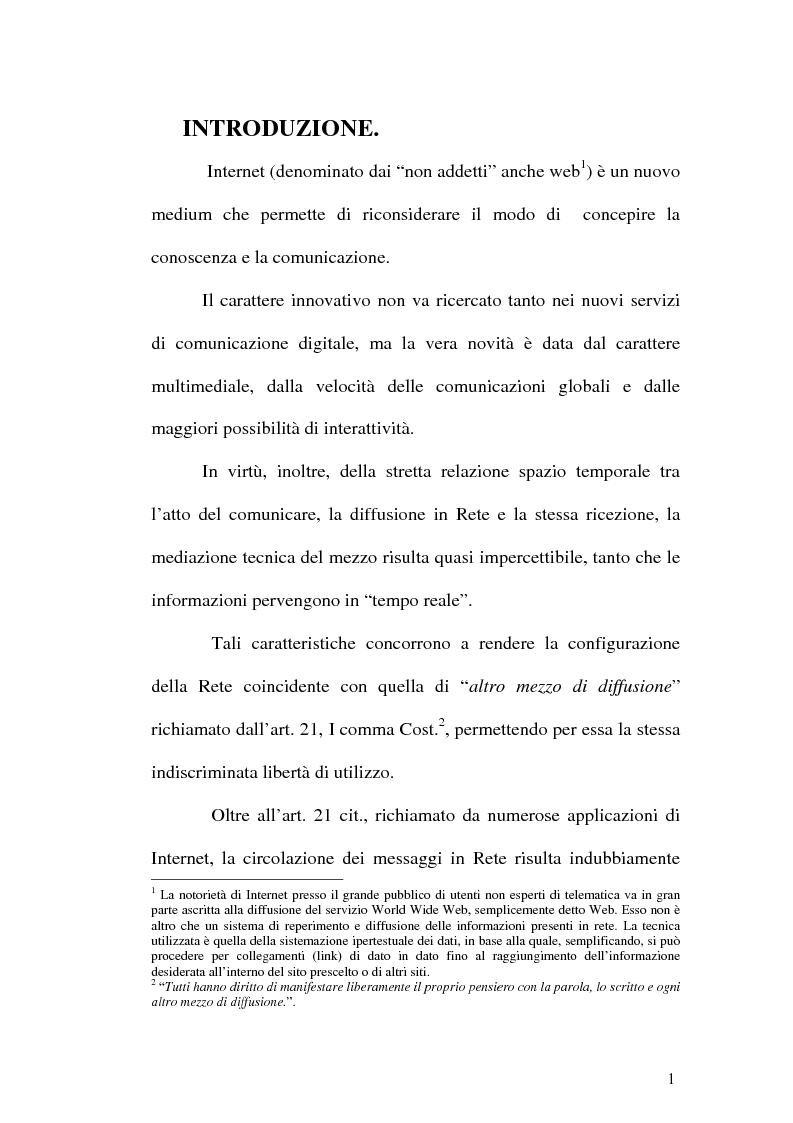 Anteprima della tesi: Il web come mezzo di consumazione dei reati in materia sessuale, Pagina 1