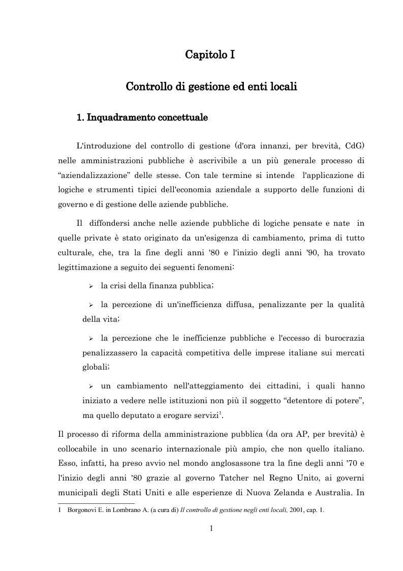 Anteprima della tesi: L'introduzione del controllo di gestione nella Provincia di Arezzo, Pagina 1