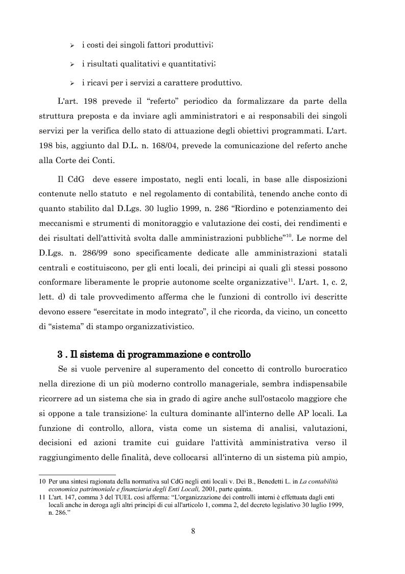 Anteprima della tesi: L'introduzione del controllo di gestione nella Provincia di Arezzo, Pagina 8