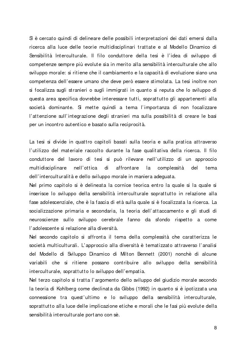 Anteprima della tesi: Lo sviluppo della sensibilità interculturale e lo sviluppo morale in adolescenza: un'analisi empirica, Pagina 4