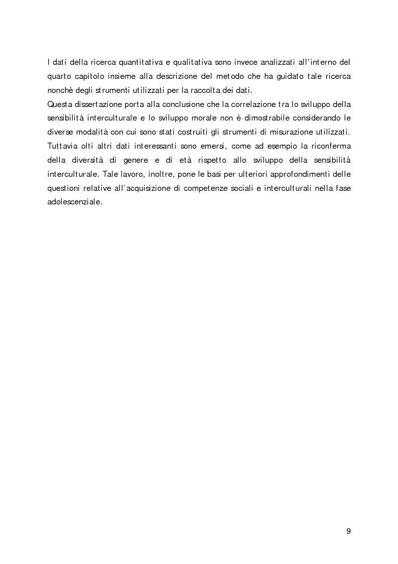 Anteprima della tesi: Lo sviluppo della sensibilità interculturale e lo sviluppo morale in adolescenza: un'analisi empirica, Pagina 5