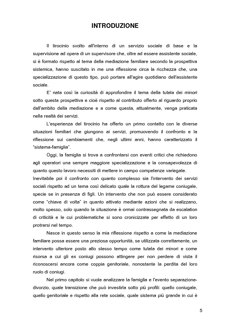 Anteprima della tesi: Due per uno... due! Due genitori per un figlio. Gli aspetti psicologici, sociali e legislativi della separazione e del divorzio e il contributo della mediazione familiare., Pagina 1