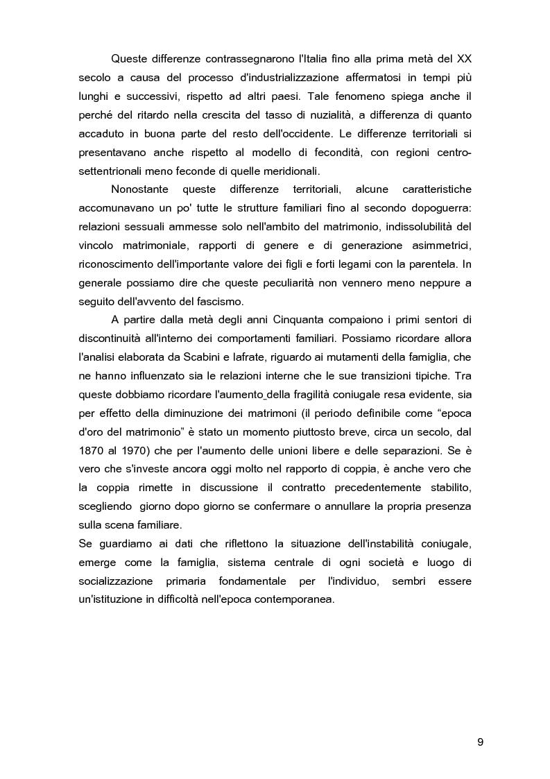 Anteprima della tesi: Due per uno... due! Due genitori per un figlio. Gli aspetti psicologici, sociali e legislativi della separazione e del divorzio e il contributo della mediazione familiare., Pagina 5