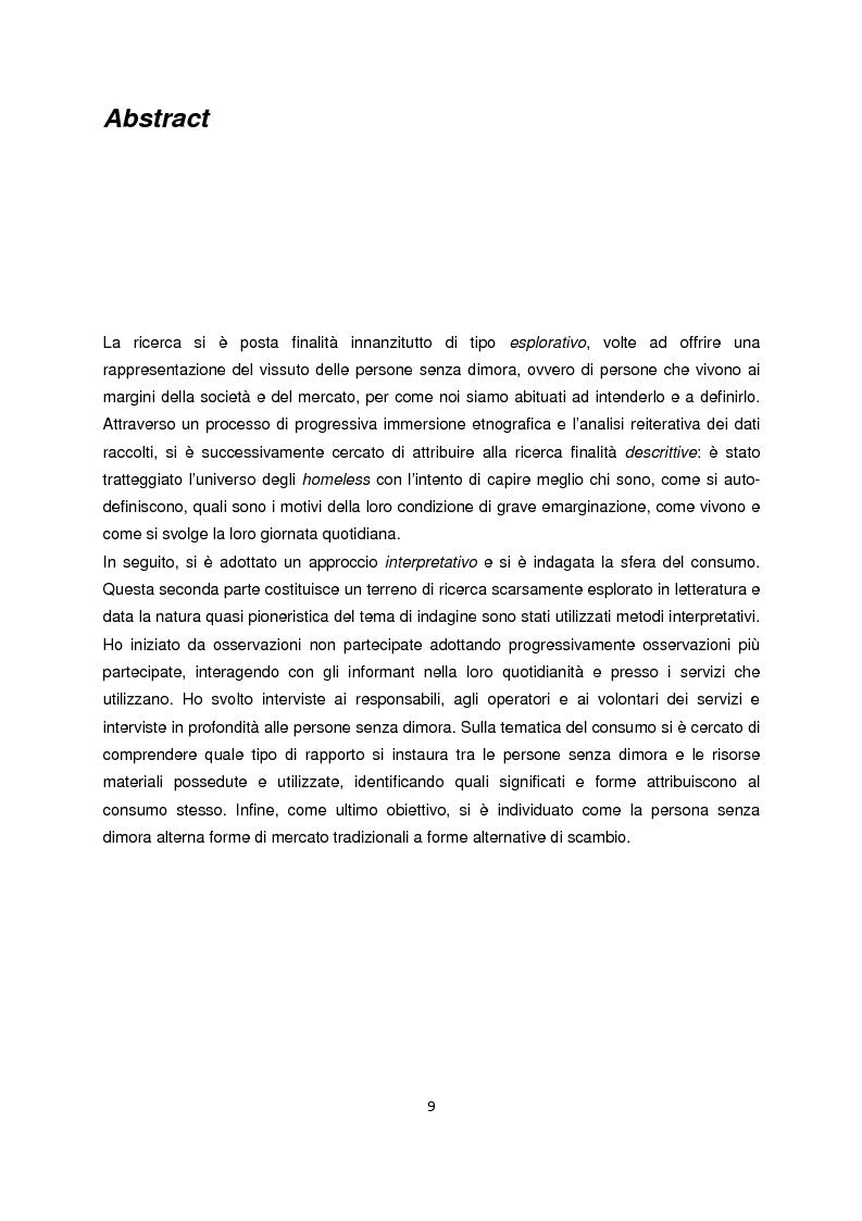 Anteprima della tesi: Persone senza dimora: cultura, consumi e relazioni con i mercati, Pagina 1
