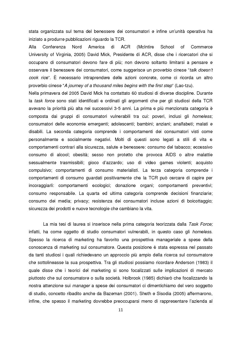 Anteprima della tesi: Persone senza dimora: cultura, consumi e relazioni con i mercati, Pagina 3