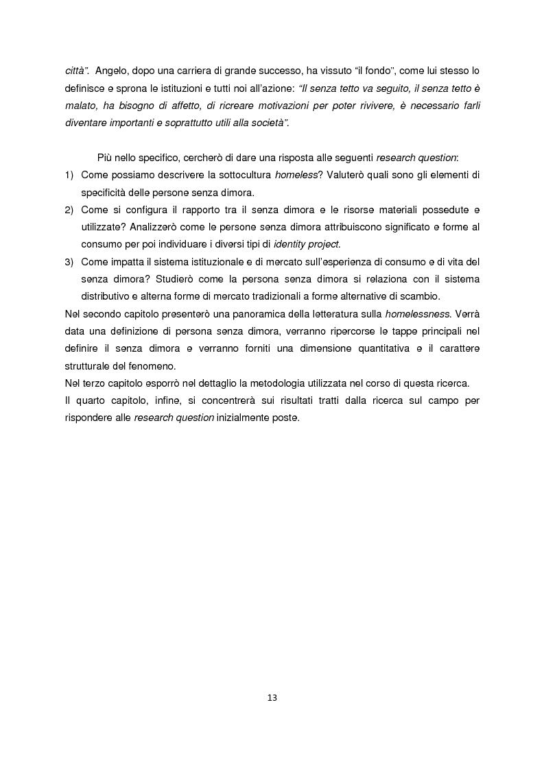 Anteprima della tesi: Persone senza dimora: cultura, consumi e relazioni con i mercati, Pagina 5