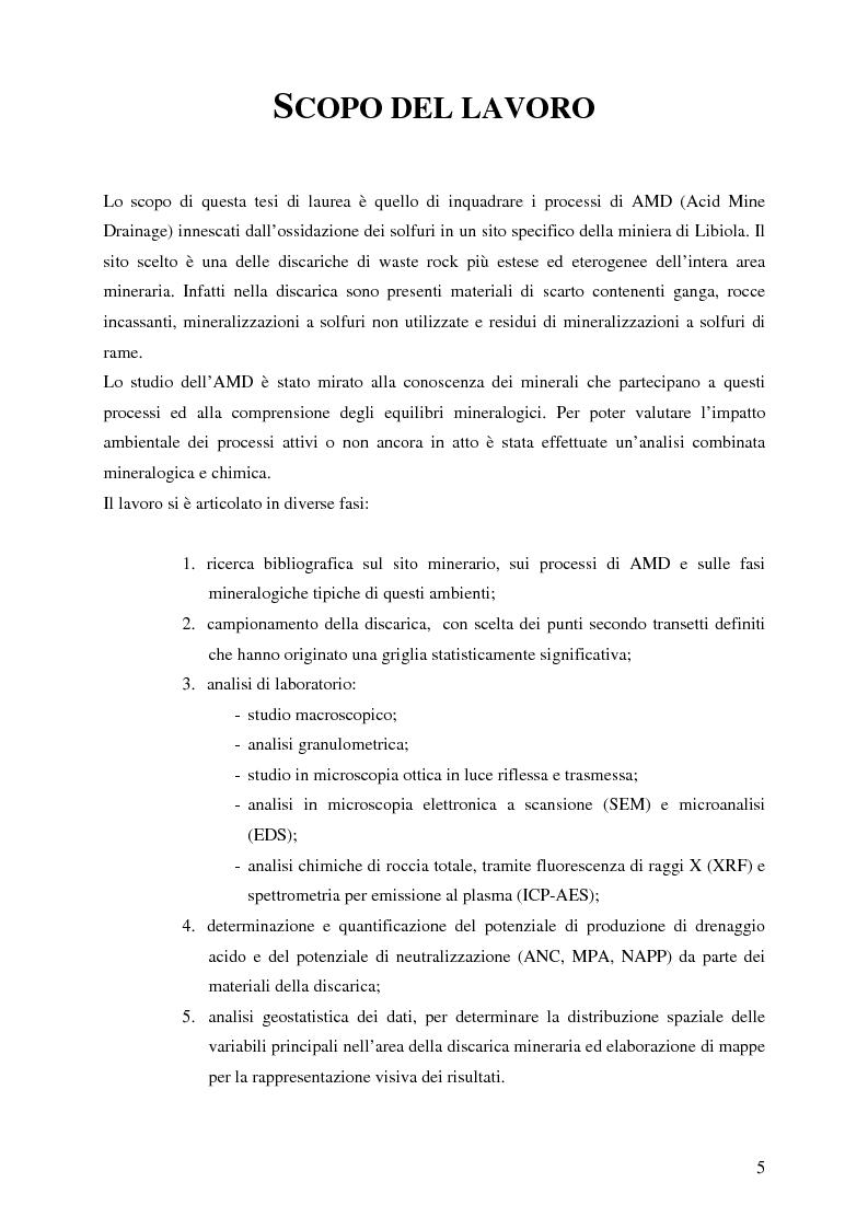 Anteprima della tesi: Indagini mineralogiche per la caratterizzazione della discarica mineraria della miniera di solfuri di ferro e rame di Libiola (Sestri Levante, Genova), Pagina 1