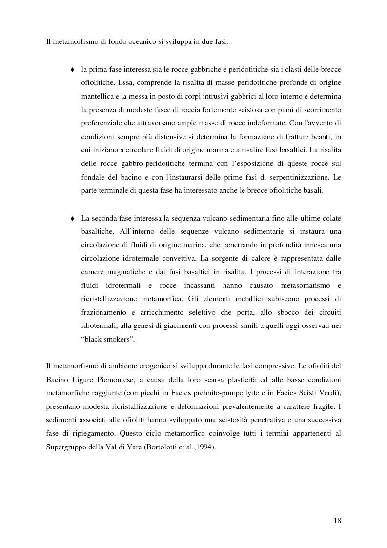 Anteprima della tesi: Indagini mineralogiche per la caratterizzazione della discarica mineraria della miniera di solfuri di ferro e rame di Libiola (Sestri Levante, Genova), Pagina 14