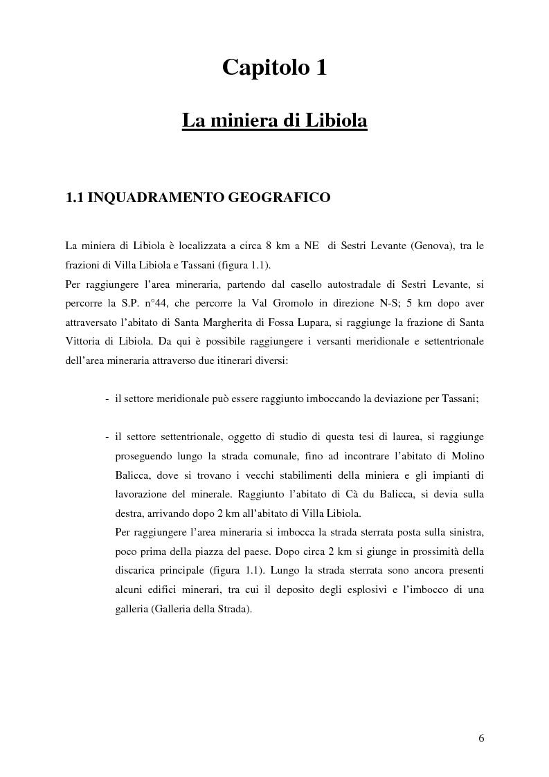 Anteprima della tesi: Indagini mineralogiche per la caratterizzazione della discarica mineraria della miniera di solfuri di ferro e rame di Libiola (Sestri Levante, Genova), Pagina 2