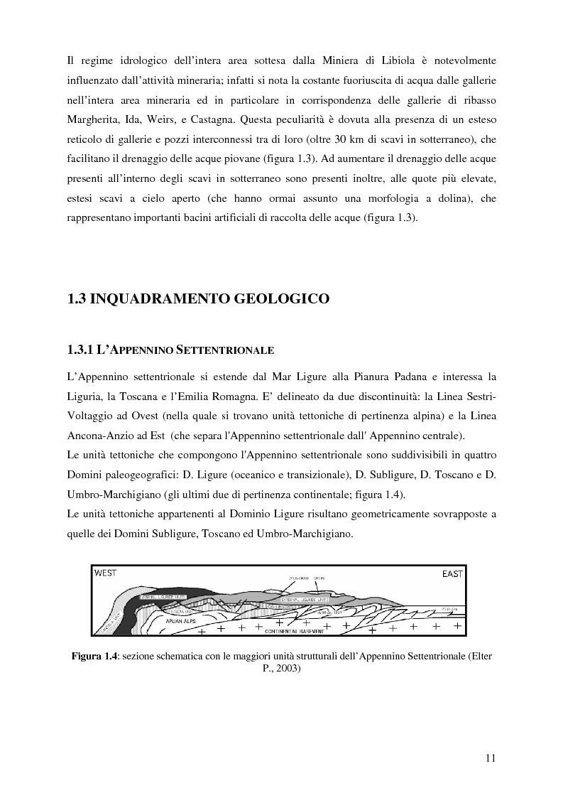 Anteprima della tesi: Indagini mineralogiche per la caratterizzazione della discarica mineraria della miniera di solfuri di ferro e rame di Libiola (Sestri Levante, Genova), Pagina 7