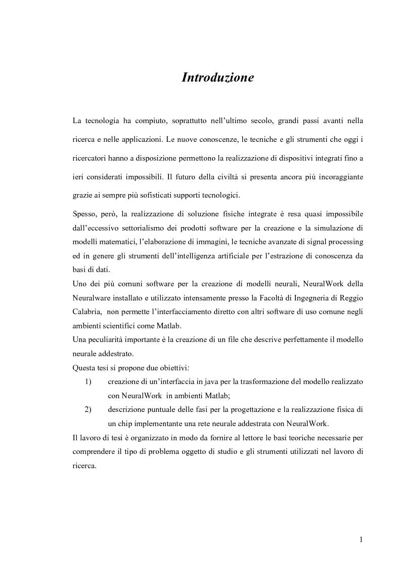 Anteprima della tesi: Tool di interfacciamento Neural Works - Matlab, progettazione e simulazione chip NeuroLAB, Pagina 1