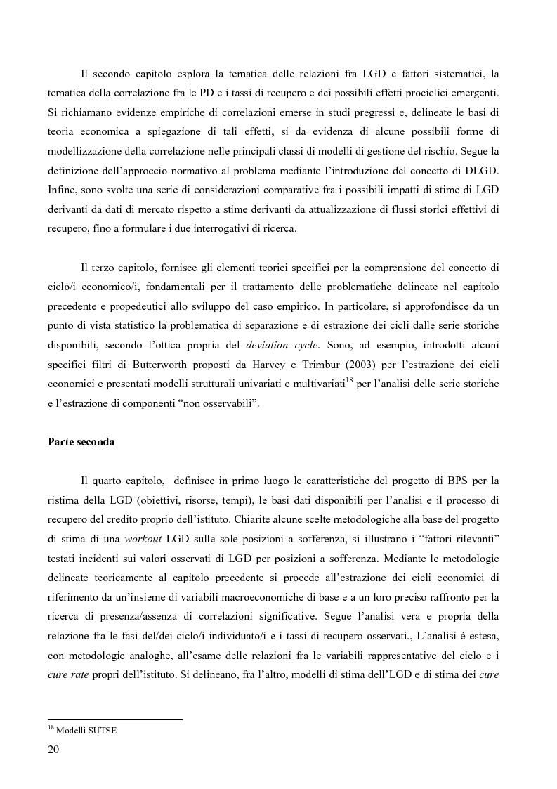 Anteprima della tesi: Prevedere la Loss Given Default nelle banche: fattori rilevanti e downturn LGD. Il caso di Banca Popolare di Sondrio., Pagina 10