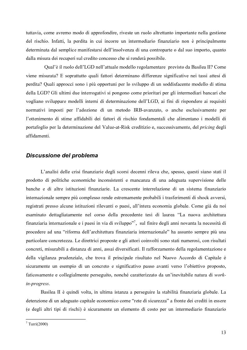 Anteprima della tesi: Prevedere la Loss Given Default nelle banche: fattori rilevanti e downturn LGD. Il caso di Banca Popolare di Sondrio., Pagina 3