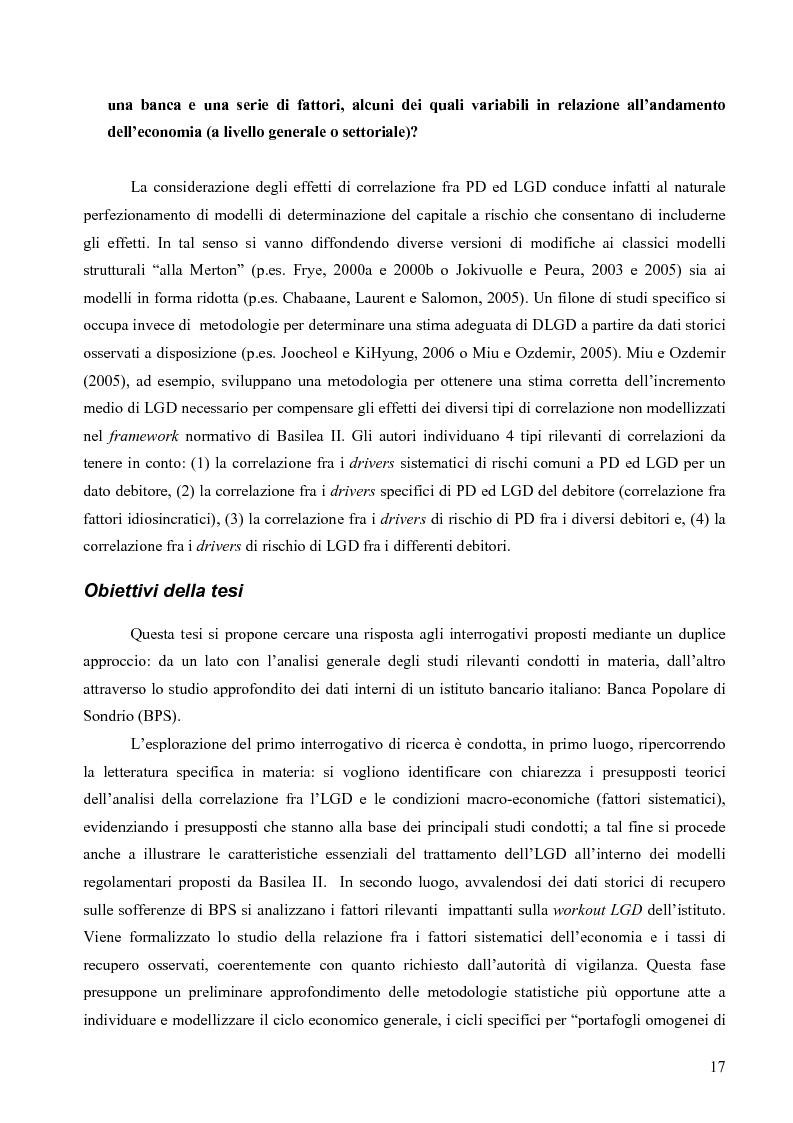 Anteprima della tesi: Prevedere la Loss Given Default nelle banche: fattori rilevanti e downturn LGD. Il caso di Banca Popolare di Sondrio., Pagina 7