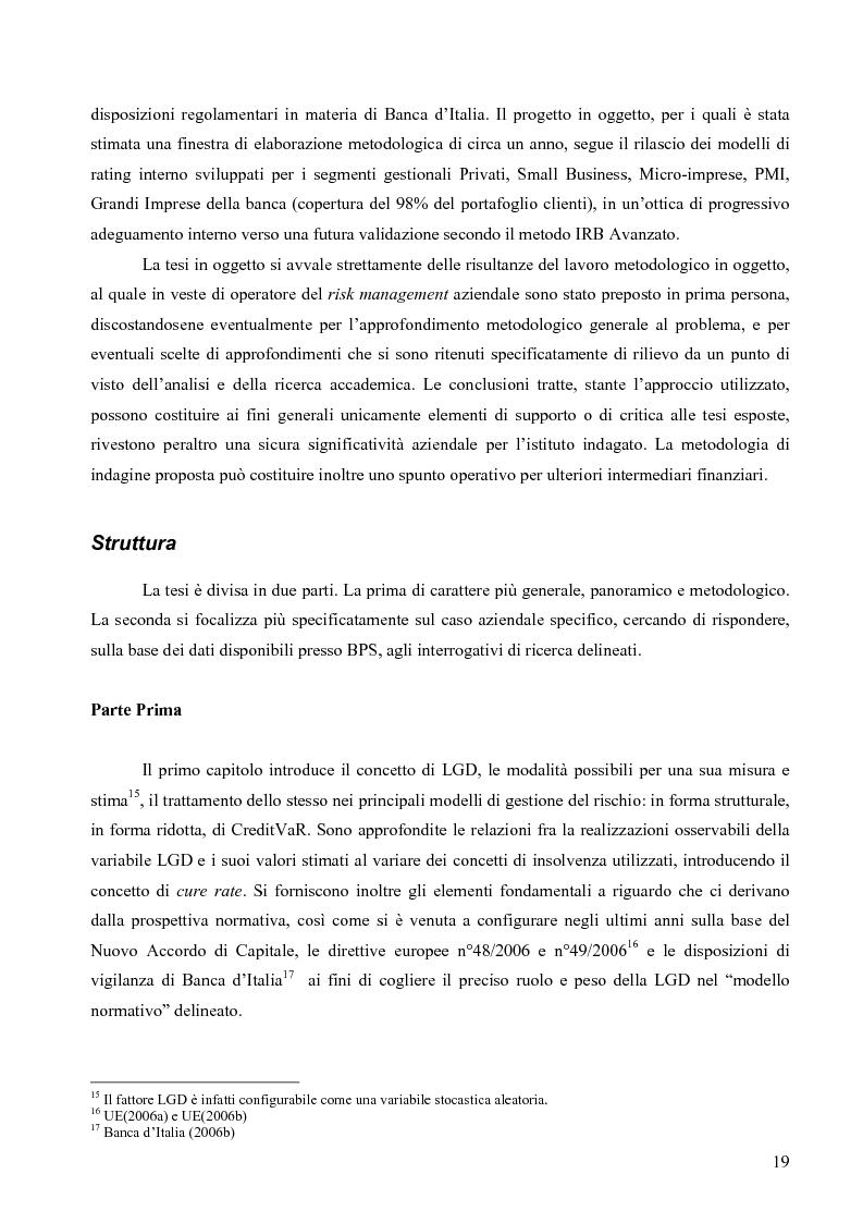 Anteprima della tesi: Prevedere la Loss Given Default nelle banche: fattori rilevanti e downturn LGD. Il caso di Banca Popolare di Sondrio., Pagina 9