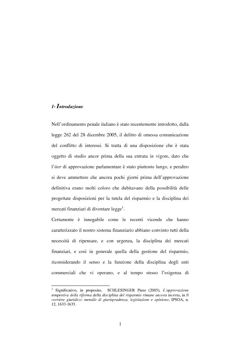 Anteprima della tesi: Omessa comunicazione del conflitto di interessi, Pagina 1