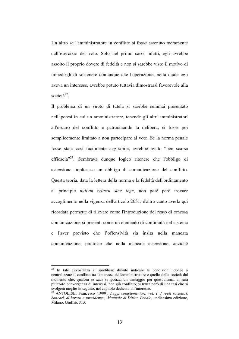 Anteprima della tesi: Omessa comunicazione del conflitto di interessi, Pagina 13
