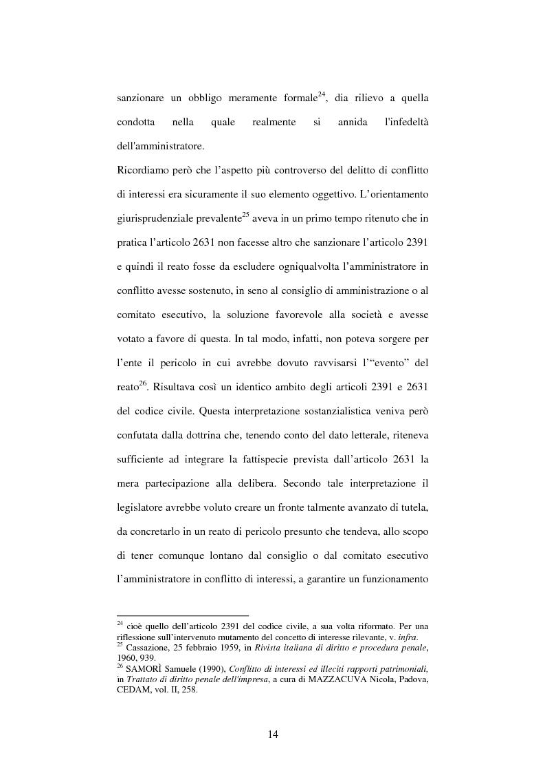 Anteprima della tesi: Omessa comunicazione del conflitto di interessi, Pagina 14