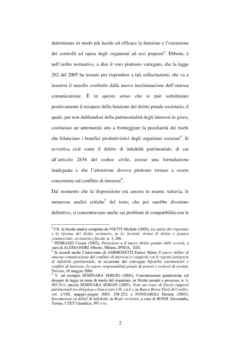 Anteprima della tesi: Omessa comunicazione del conflitto di interessi, Pagina 2