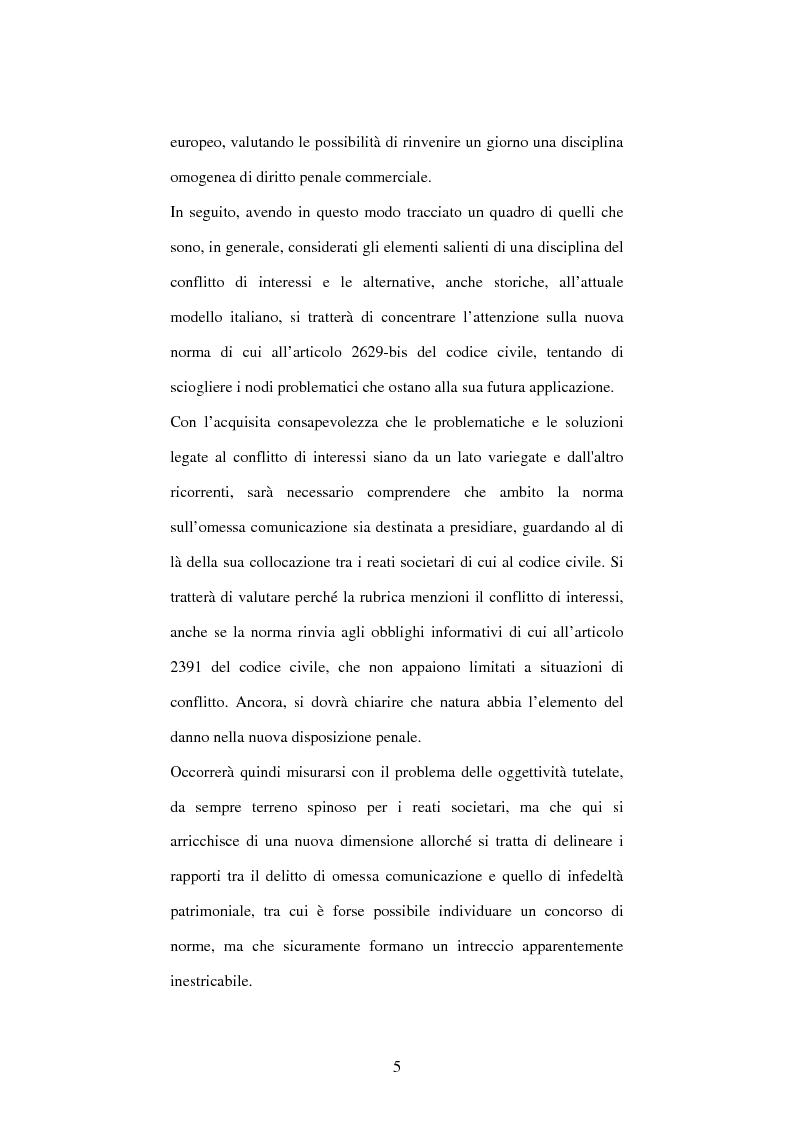 Anteprima della tesi: Omessa comunicazione del conflitto di interessi, Pagina 5