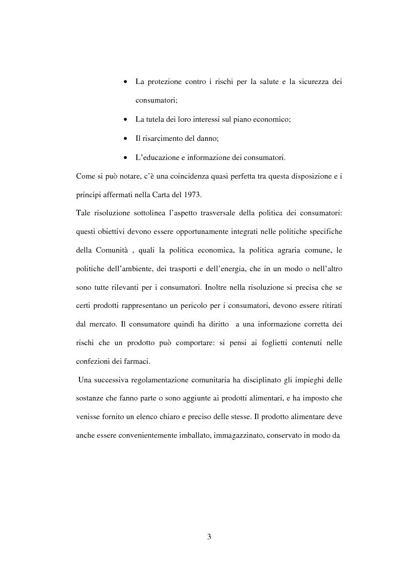 Anteprima della tesi: La tutela dei consumatori nell'UE: la strategia 2007-2013, Pagina 3