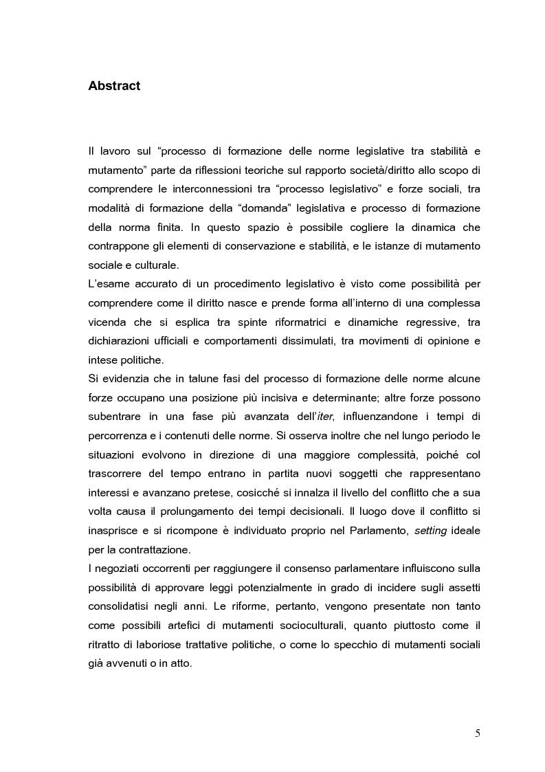 Anteprima della tesi: Il processo di formazione delle norme legislative tra stabilità e mutamento: il caso della riforma penitenziaria, Pagina 1