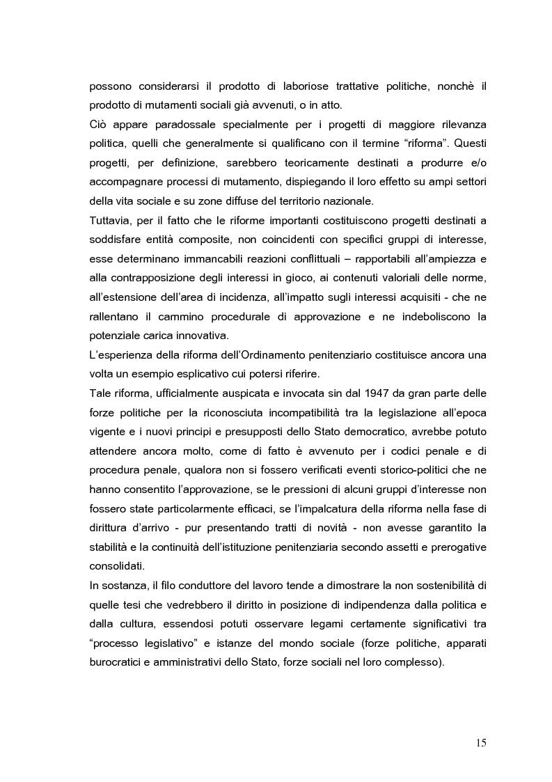 Anteprima della tesi: Il processo di formazione delle norme legislative tra stabilità e mutamento: il caso della riforma penitenziaria, Pagina 11