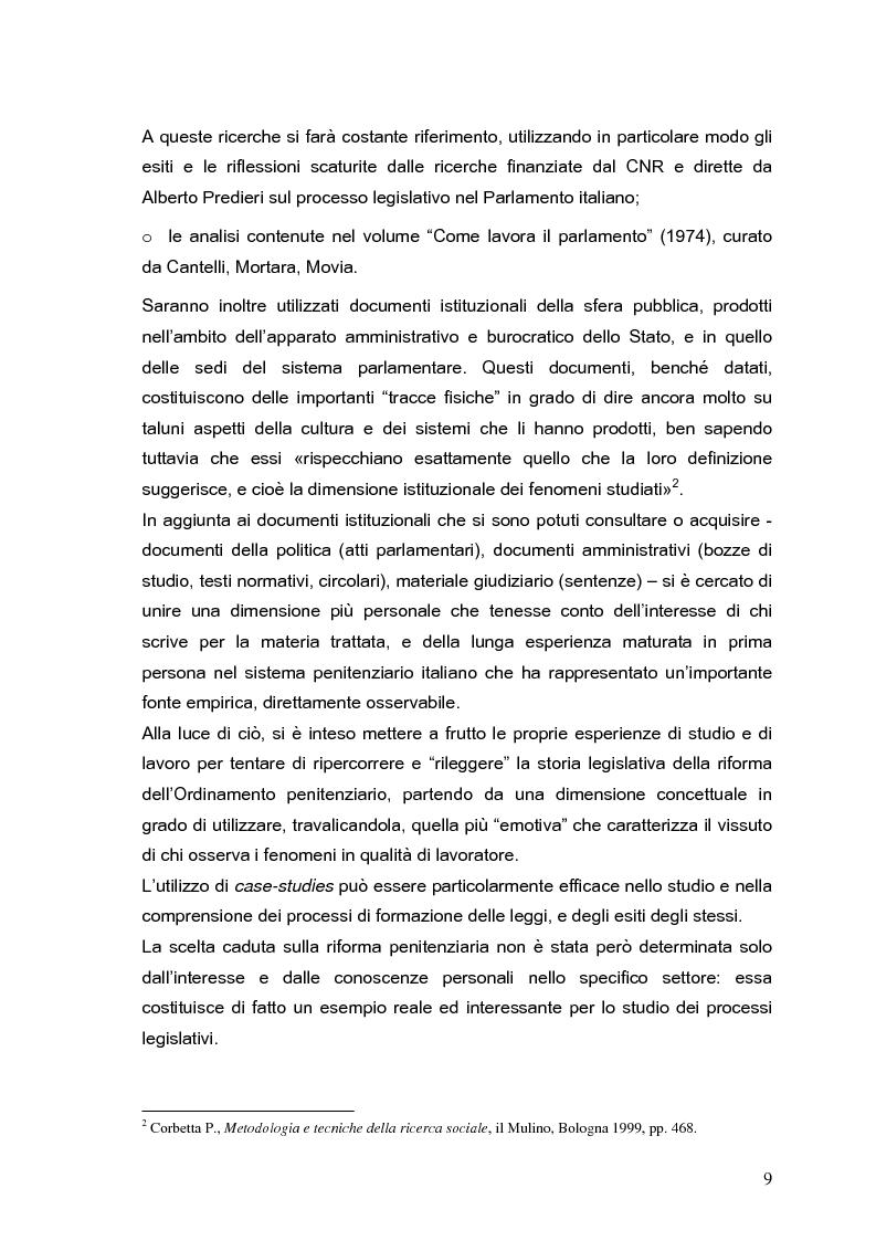 Anteprima della tesi: Il processo di formazione delle norme legislative tra stabilità e mutamento: il caso della riforma penitenziaria, Pagina 5