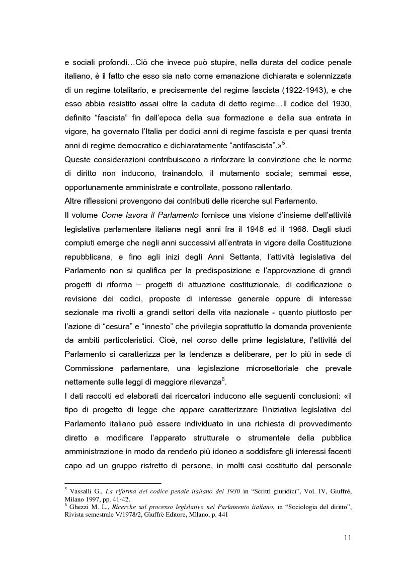 Anteprima della tesi: Il processo di formazione delle norme legislative tra stabilità e mutamento: il caso della riforma penitenziaria, Pagina 7