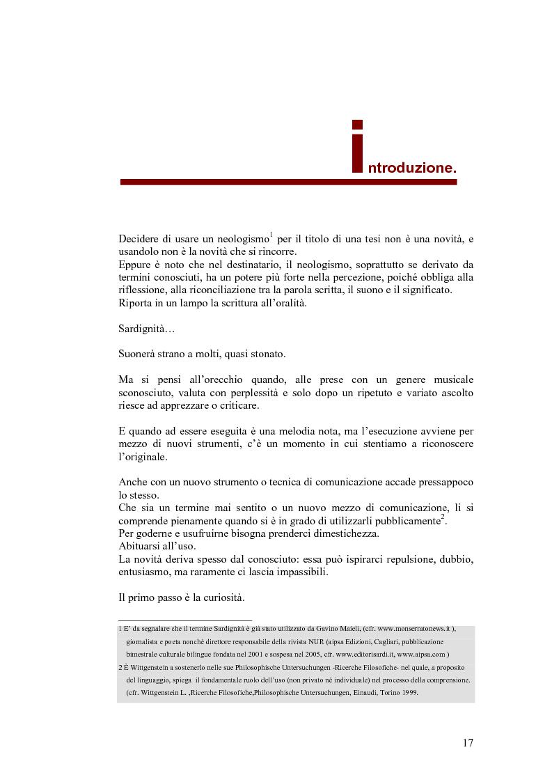 Estratto dalla tesi: SARDignità. Interiorizzazioni mediatiche e pratiche autorappresentative in Sardegna.