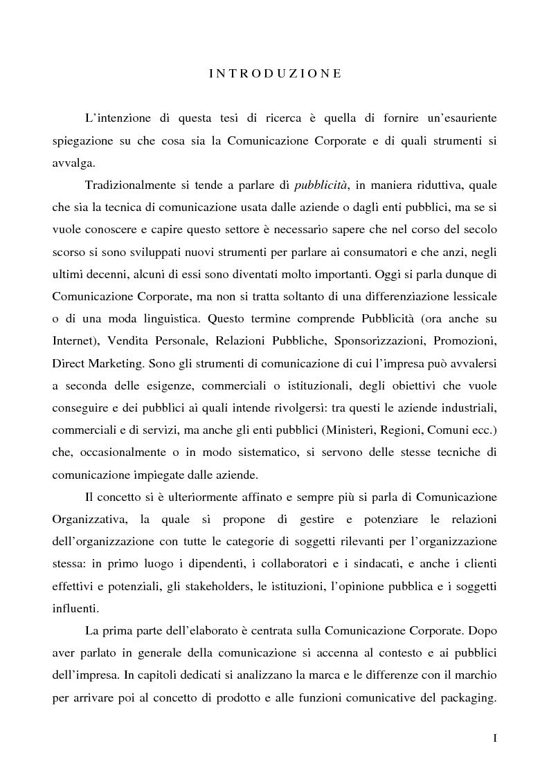 Anteprima della tesi: La comunicazione corporate: dalle relazioni pubbliche all'editoria culturale, Pagina 1
