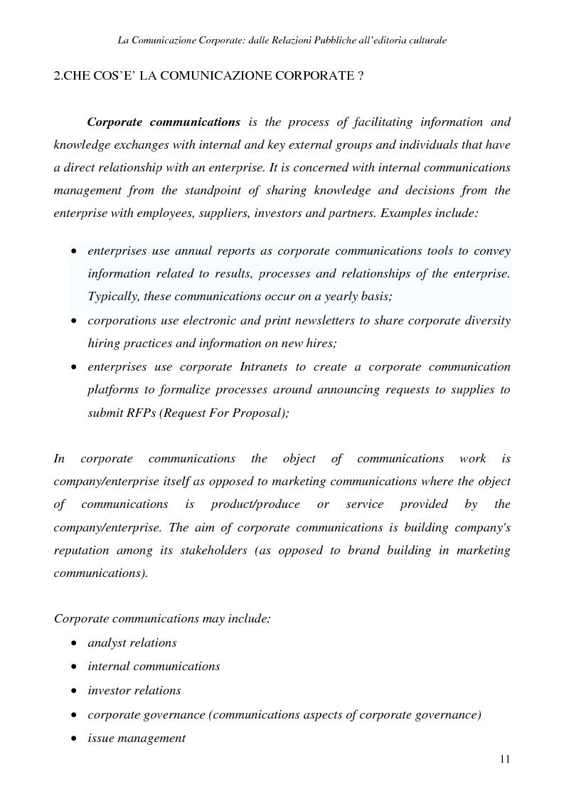 Anteprima della tesi: La comunicazione corporate: dalle relazioni pubbliche all'editoria culturale, Pagina 14