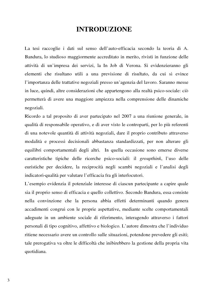 Anteprima della tesi: Senso d'autoefficacia e negoziazione - Esempio di un'agenzia del lavoro nel rapporto col cliente: dalla presentazione alla visita, Pagina 1