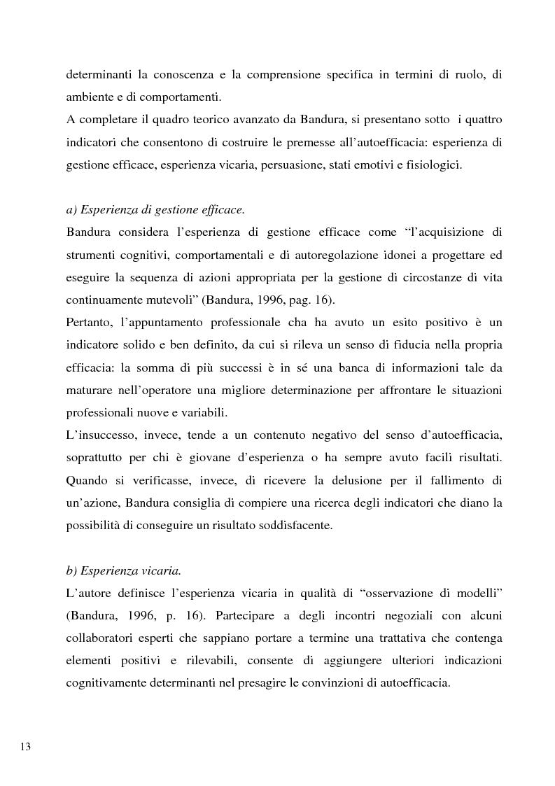 Anteprima della tesi: Senso d'autoefficacia e negoziazione - Esempio di un'agenzia del lavoro nel rapporto col cliente: dalla presentazione alla visita, Pagina 11