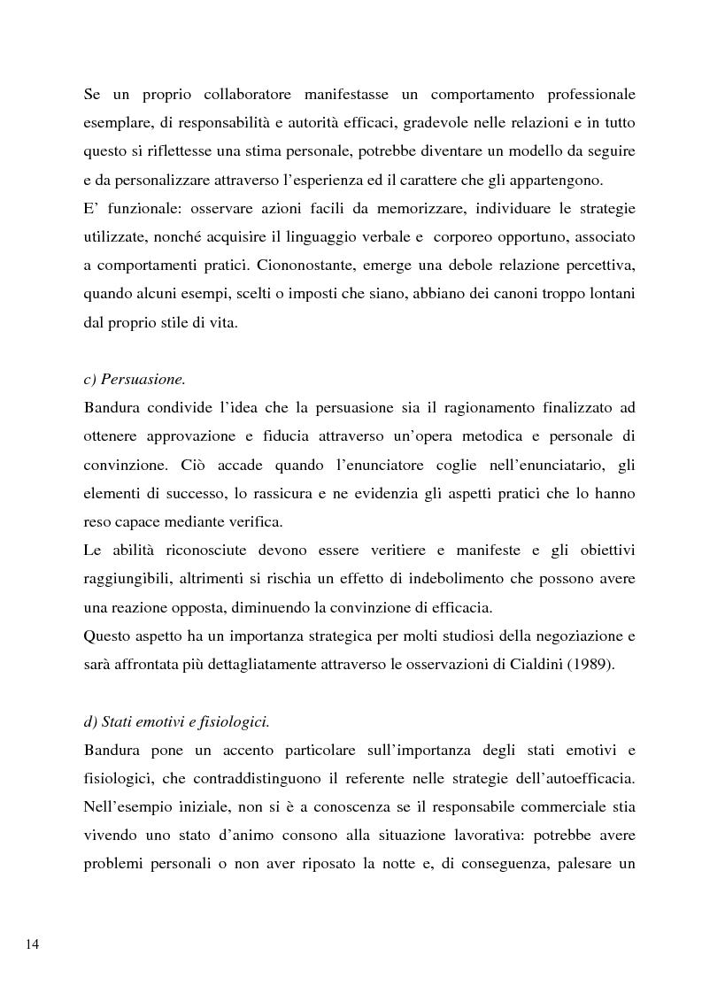 Anteprima della tesi: Senso d'autoefficacia e negoziazione - Esempio di un'agenzia del lavoro nel rapporto col cliente: dalla presentazione alla visita, Pagina 12