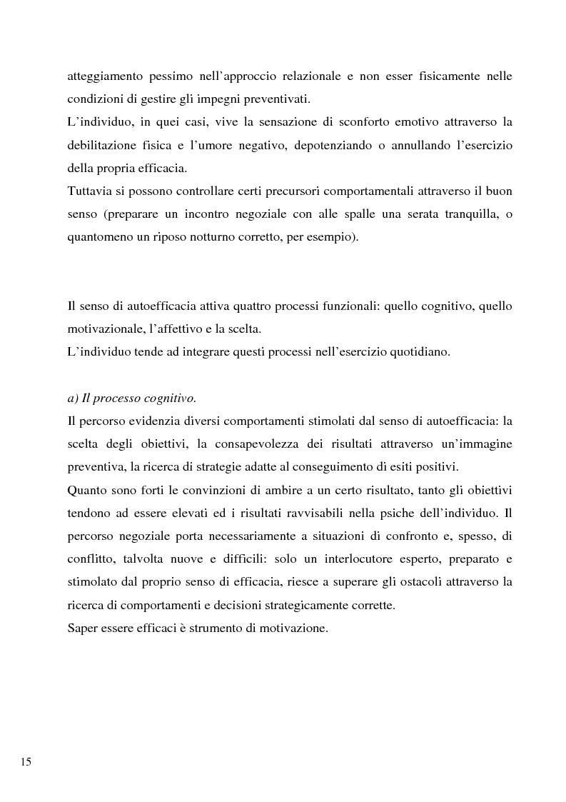 Anteprima della tesi: Senso d'autoefficacia e negoziazione - Esempio di un'agenzia del lavoro nel rapporto col cliente: dalla presentazione alla visita, Pagina 13