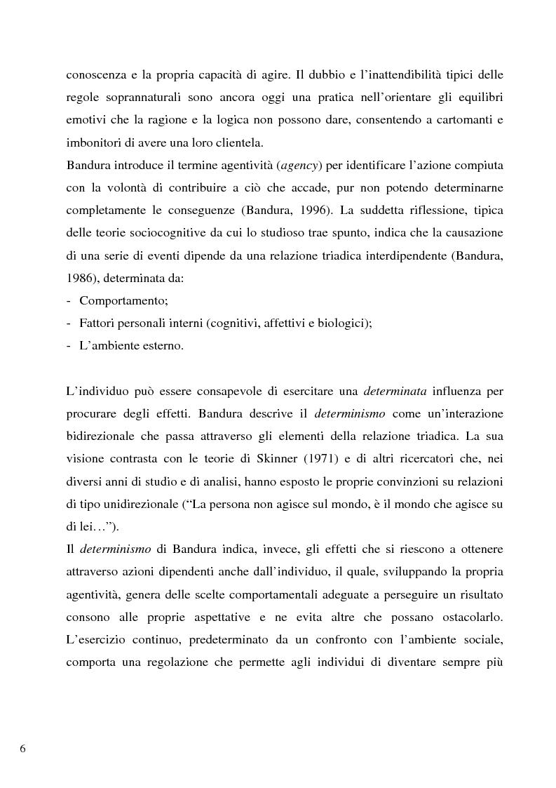 Anteprima della tesi: Senso d'autoefficacia e negoziazione - Esempio di un'agenzia del lavoro nel rapporto col cliente: dalla presentazione alla visita, Pagina 4
