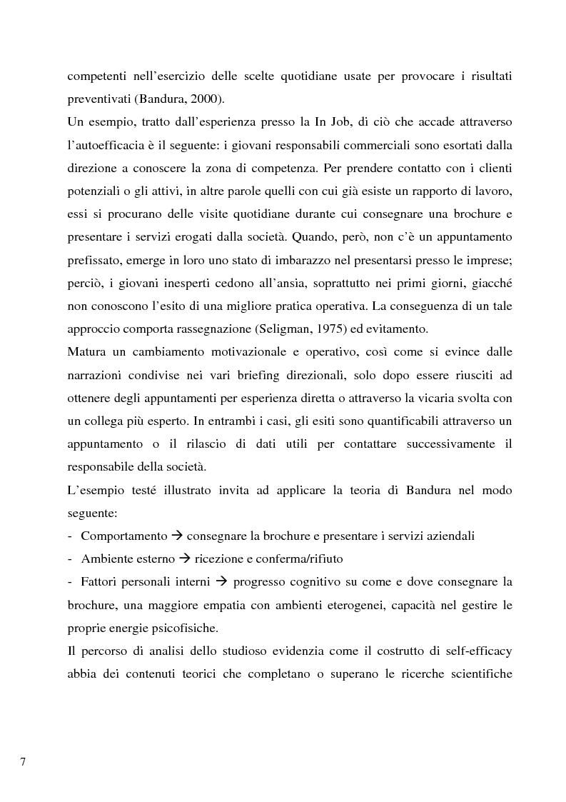 Anteprima della tesi: Senso d'autoefficacia e negoziazione - Esempio di un'agenzia del lavoro nel rapporto col cliente: dalla presentazione alla visita, Pagina 5