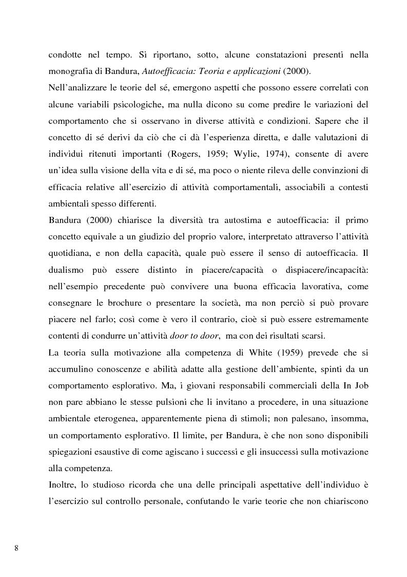 Anteprima della tesi: Senso d'autoefficacia e negoziazione - Esempio di un'agenzia del lavoro nel rapporto col cliente: dalla presentazione alla visita, Pagina 6