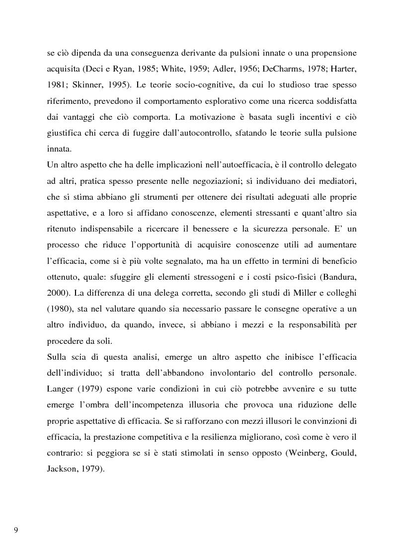 Anteprima della tesi: Senso d'autoefficacia e negoziazione - Esempio di un'agenzia del lavoro nel rapporto col cliente: dalla presentazione alla visita, Pagina 7